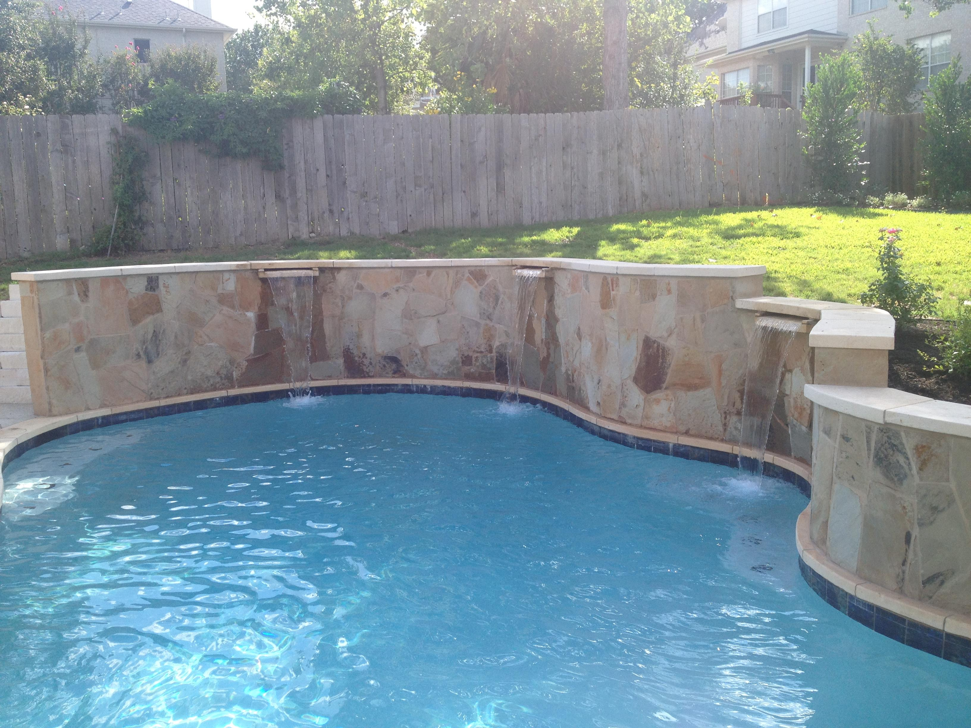 Custom Swimming Pool Raised Walls & Spillway Features Portfolio
